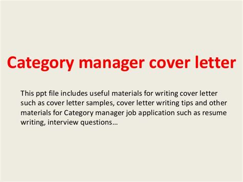 Category Manager Cover Letter Category Manager Cover Letter