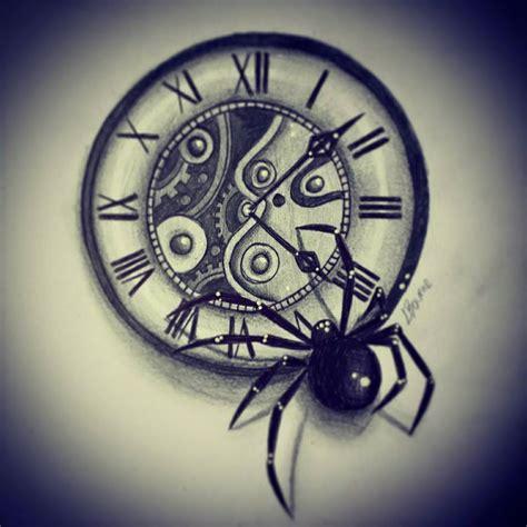 clock and spider tattoo design by slightlyannoyed cake on