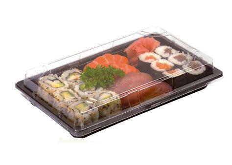 contenitori per alimenti take away vaschetta take away sushi nera rettangolare con coperchio
