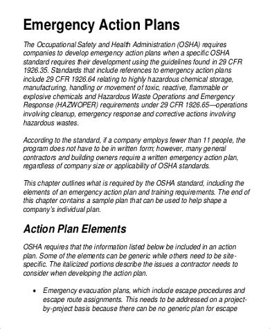 9 Emergency Action Plan Sles Sle Templates Osha Prevention Plan Template