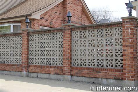 Decorative Bricks For Garden Walls Decorative Brick Fence Brick Fence With Concrete Blocks And Lights On Pillars Garden Walls