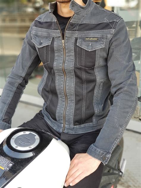 rider denim duman erkek ceket rider denim korumali kot ceket