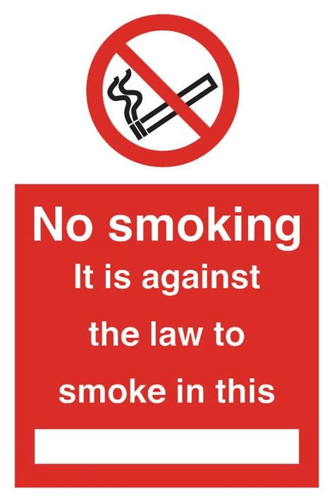 no smoking signs the law no smoking it is against the law to smoke in this sign