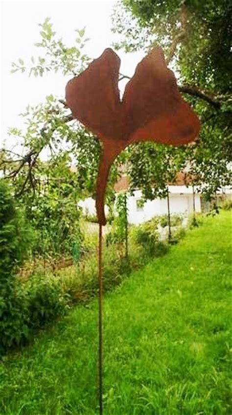 Gartendeko Holz Blatt by Gartendeko Shop Roststab Gartenstecker Gingko Blatt
