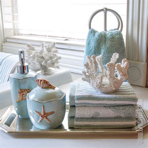Beach themed bathroom shelves decorating clear