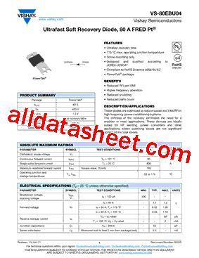 transistor datasheet vishay 80ebu04 datasheet pdf vishay siliconix