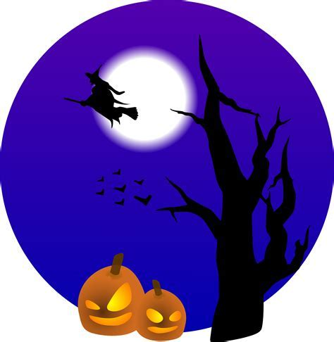 halloween clipart flying witch and pumpkins free halloween vector clipart