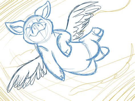 Flying Pig by FillyBlue on DeviantArt Flying Pig Drawing