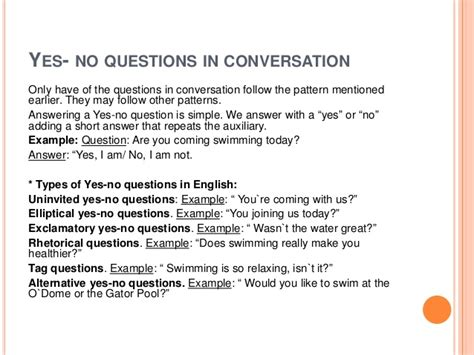 exles of yes or no questions a contrastive analysis of yes no questions in