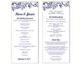 wedding program template diy editable word file instant