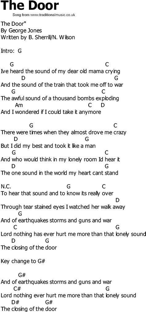 Lyrics L A The Doors by Country Song Lyrics With Chords The Door