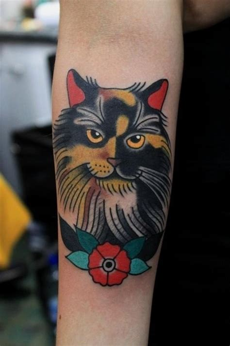 Old School Coloured Cat Forearm Tattoo Tattooimages Biz School Cat Tattoos
