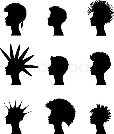 silhouette of a with a set of punk hairstyles stock