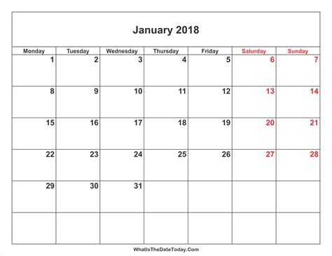 printable monthly calendar without weekends january 2018 calendar with weekend highlight