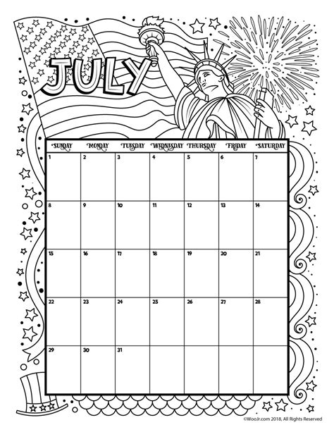 Coloring Page 2018 by July 2018 Coloring Calendar Page Woo Jr Activities