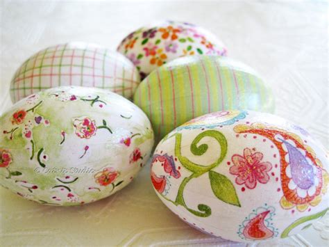 Decoupage Eggs - pink and green easter eggs decoupage glitter floral paisley
