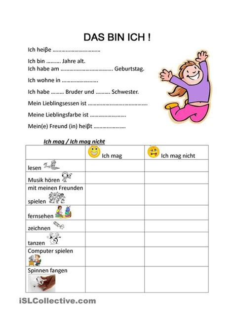 Rechnung Bringen Englisch Das Bin Ich Student Centered Resources Druckvorlagen Und Arbeitsbl 228 Tter