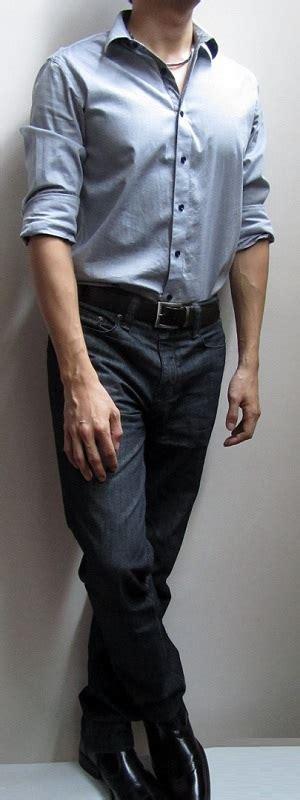 blue grey shirt brown belt black black leather