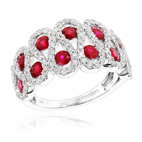 luxurman diamonds and ruby cocktail ring in 14k