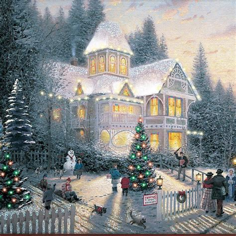 kinkade lighted pictures house pixshark com images