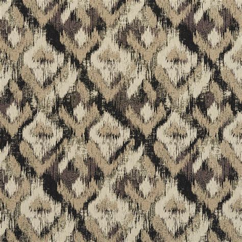 unique upholstery fabric black grey and ivory ikat woven abstract unique