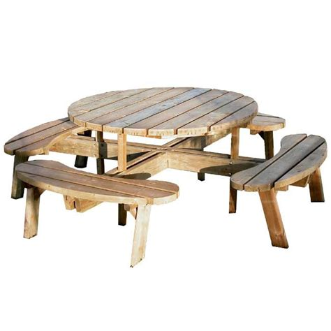 Table En Bois Et Banc by Table Pique Nique Ronde Ext 233 Rieure En Bois Autoclave