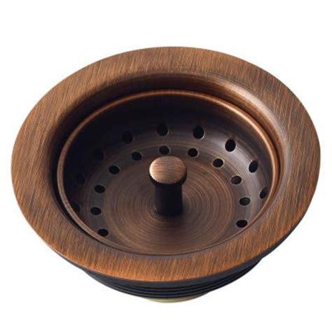 Kitchen Sinks Drains Sinkology Kitchen Sink 3 5 In Strainer Drain With Post Styled Basket In Antique Copper Tb35 01