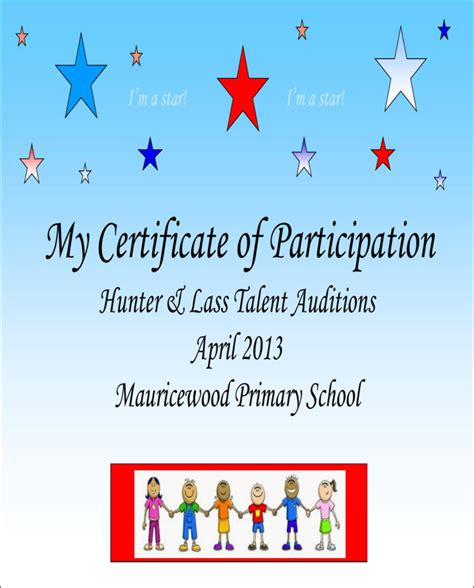 talent show certificate template talent show certificate for free formtemplate