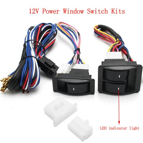 6pcs 12v universal power window switch kits with
