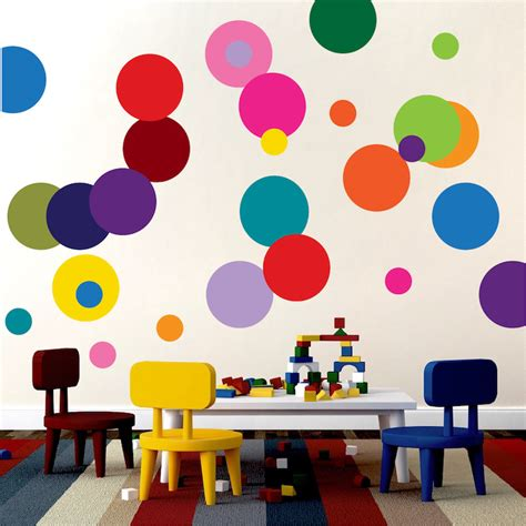 childrens bedroom wall transfers colorful dots decal nursery wall decal murals primedecals