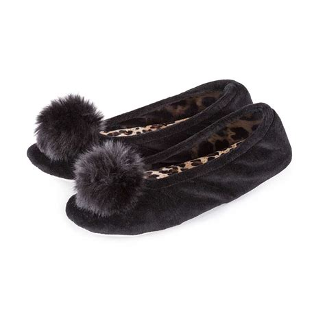 pom pom slippers isotoner velour ballerina slippers with pom pom slippers