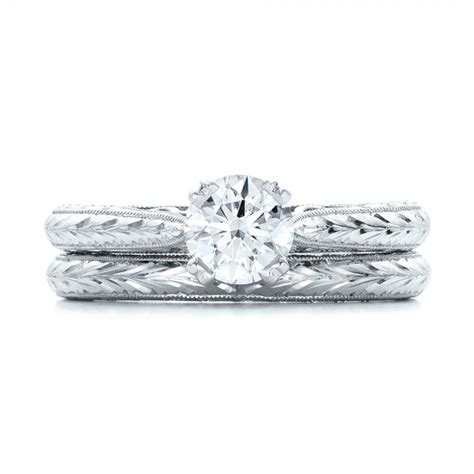 custom antique engraved solitaire engagement ring