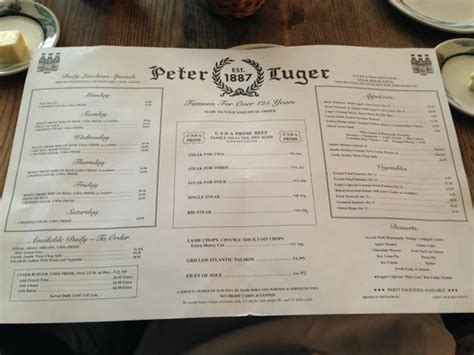 peter luger steak house menu picture of peter luger steak house brooklyn tripadvisor