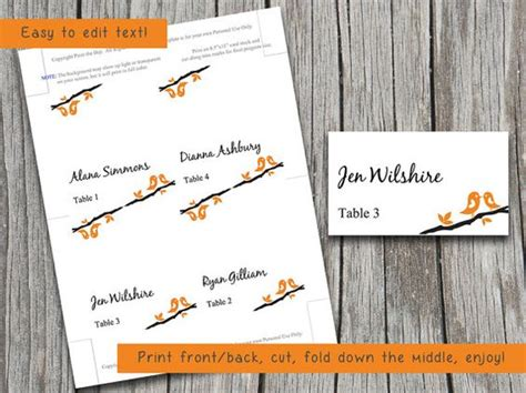 Bird Place Card Template by Trees Birds And Words On