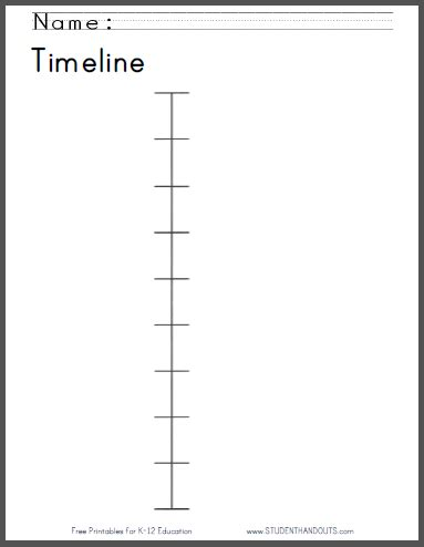 timeline worksheet here is a free printable timeline worksheet to introduce students to this topic click