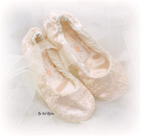 ivory slippers wedding lace ballet flats wedding bridal shoes flower
