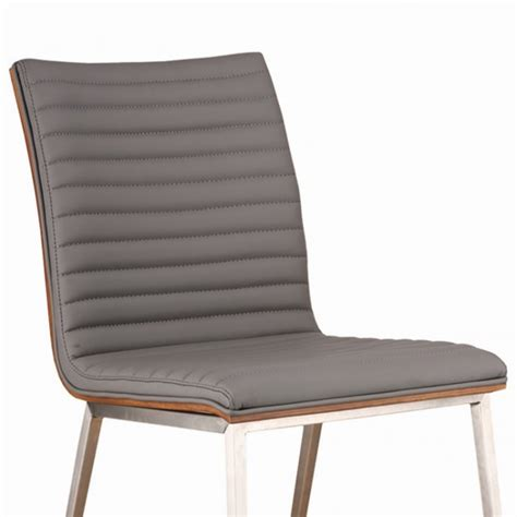 caf 233 brushed stainless steel dining chair in gray pu with
