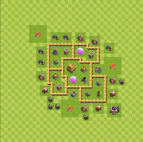 layout pertahanan coc th 5 base layout town hall level 5 tipe defense coc indonesia