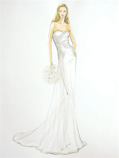 fashion illustration gown custom wedding dress fashion illustration by