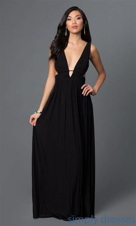 Low V Neck Long Black Formal Dress   Side cuts, Formal and