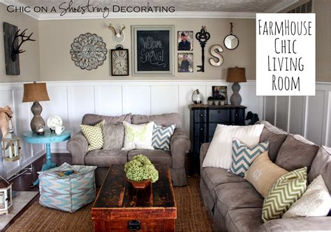 Farmhouse Chic Living Room by Chic On A Shoestring Decorating Farmhouse Chic Living