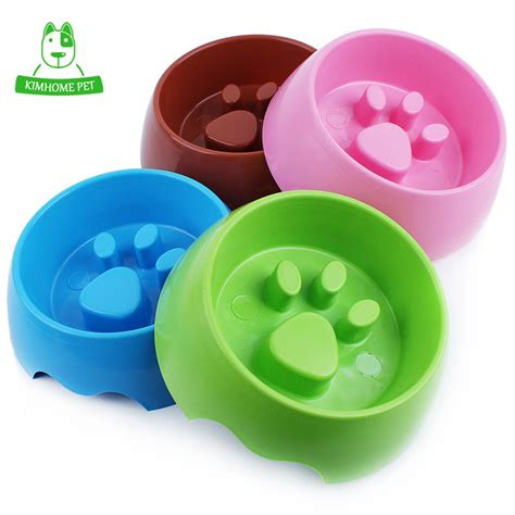 Pet Feeding Vessel Bowl kimhome 4 color pet feeding bowl for cats plastic paw print feeder bowl s m in