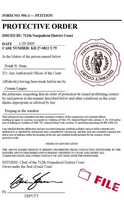 restraining order template stalker protective arrest order boyfriend husband