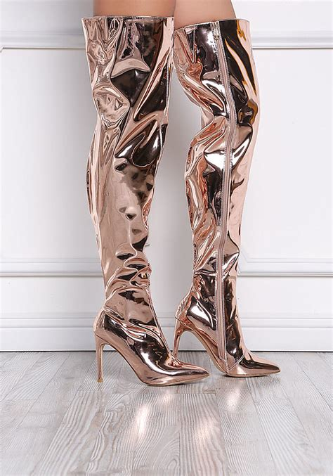 gold patent thigh high boots