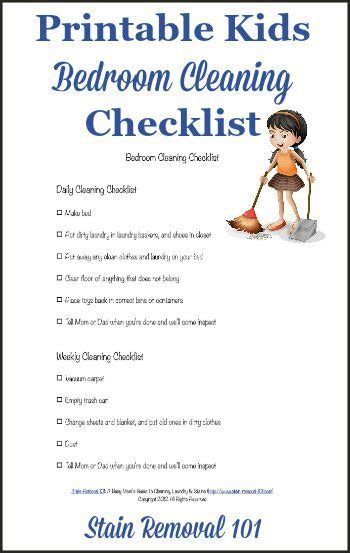 Bedroom Cleaning Checklist | bedroom cleaning checklist help kids know expectations
