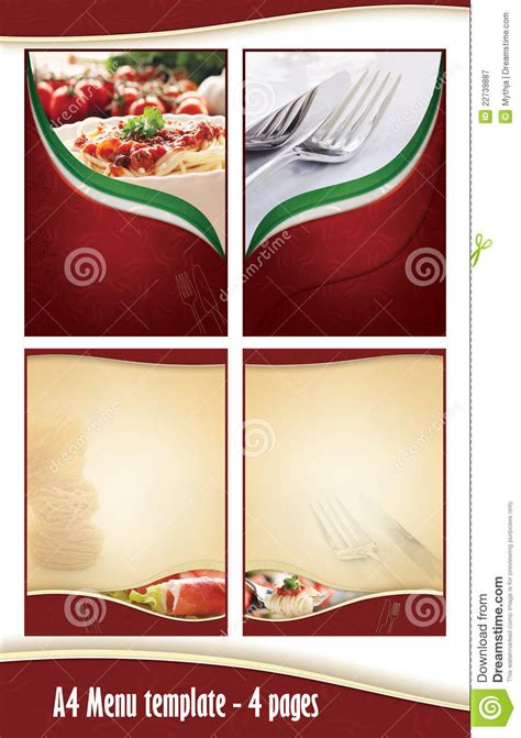 a4 4 pages menu template italian restaurant royalty free