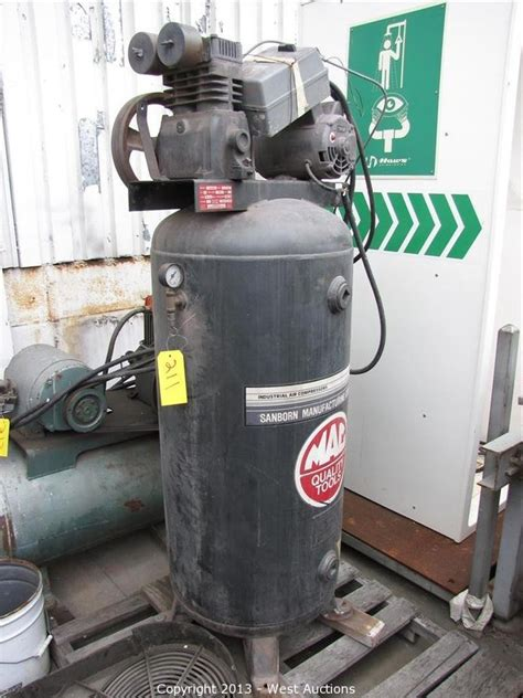 west auctions auction machine shop tools and equipment item mac tools vertical air compressor