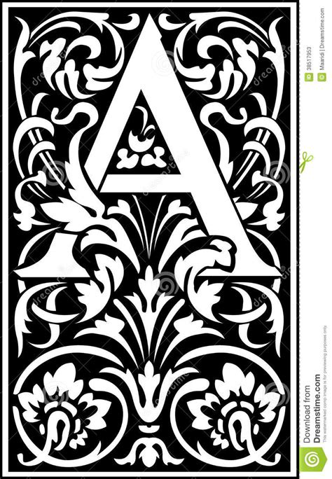 Decorative A by Flowers Decorative Letter A Balck And White Stock Photos