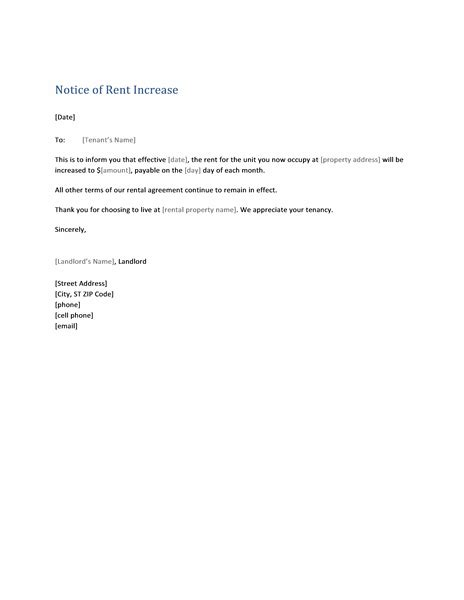 rental increase template notice of rent increase form letter templates likes