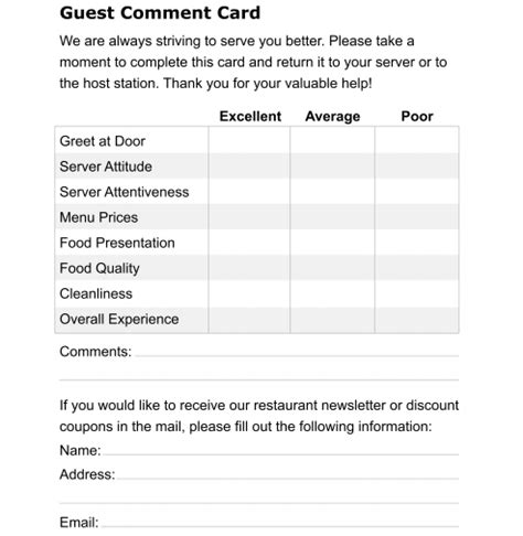 guest comment card template 5 restaurant comment card templates formats exles in